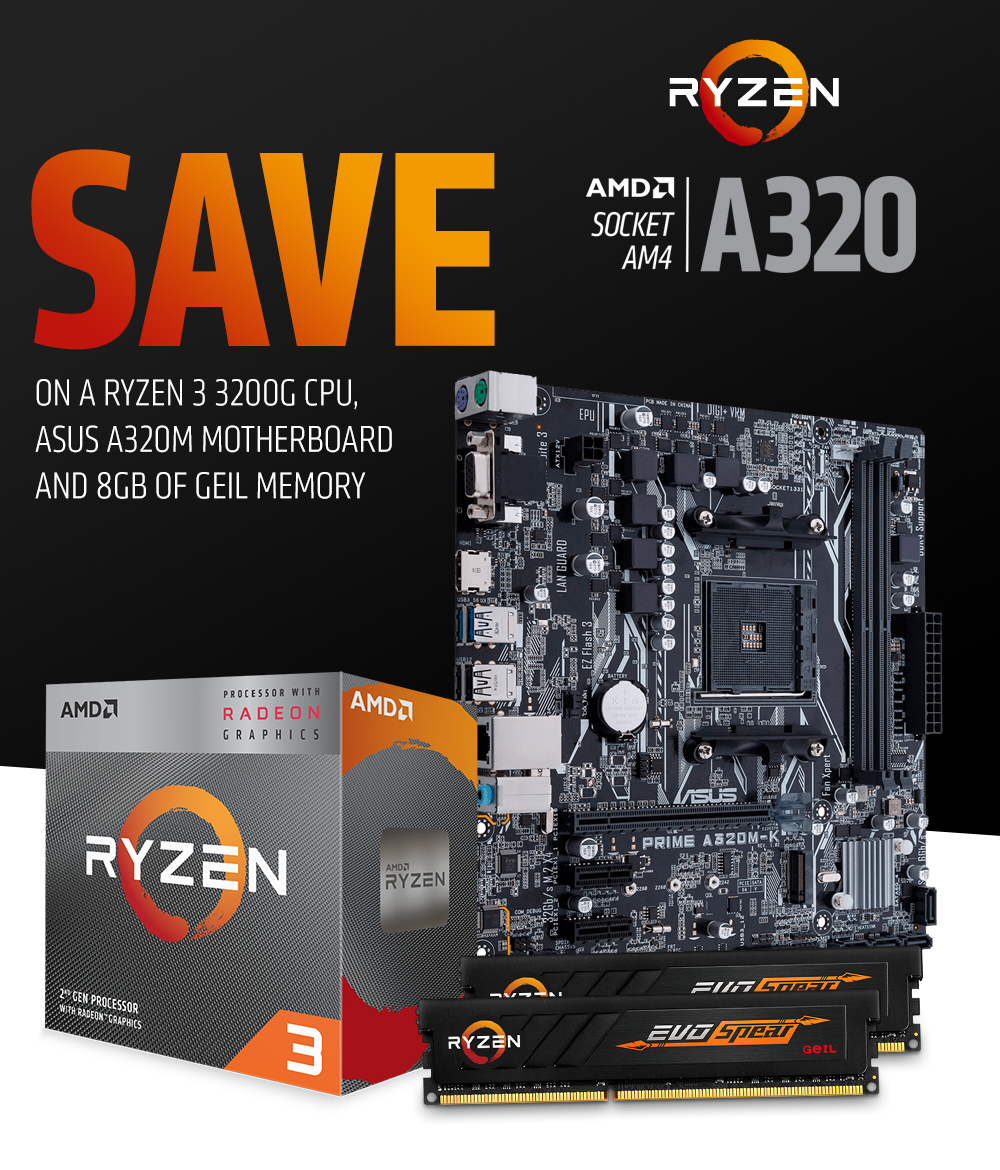 A large marketing image providing additional information about the product AMD Ryzen A320 Starter Bundle - Additional alt info not provided