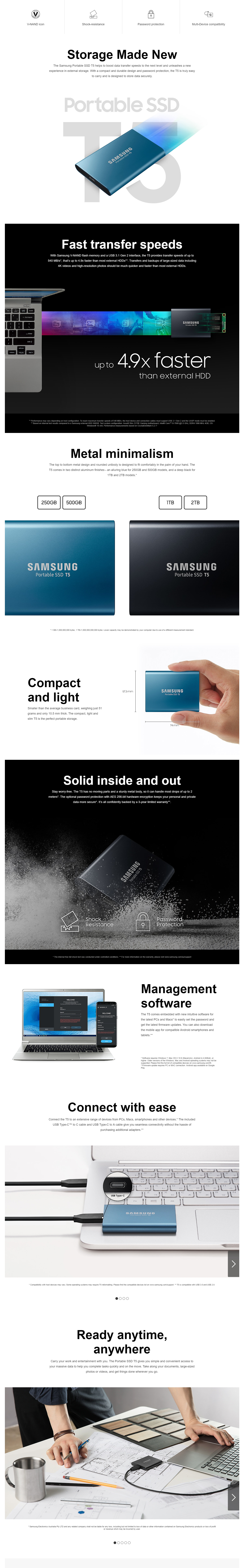 A large marketing image providing additional information about the product Samsung T5 500GB USB3.1 Blue Portable SSD - Additional alt info not provided