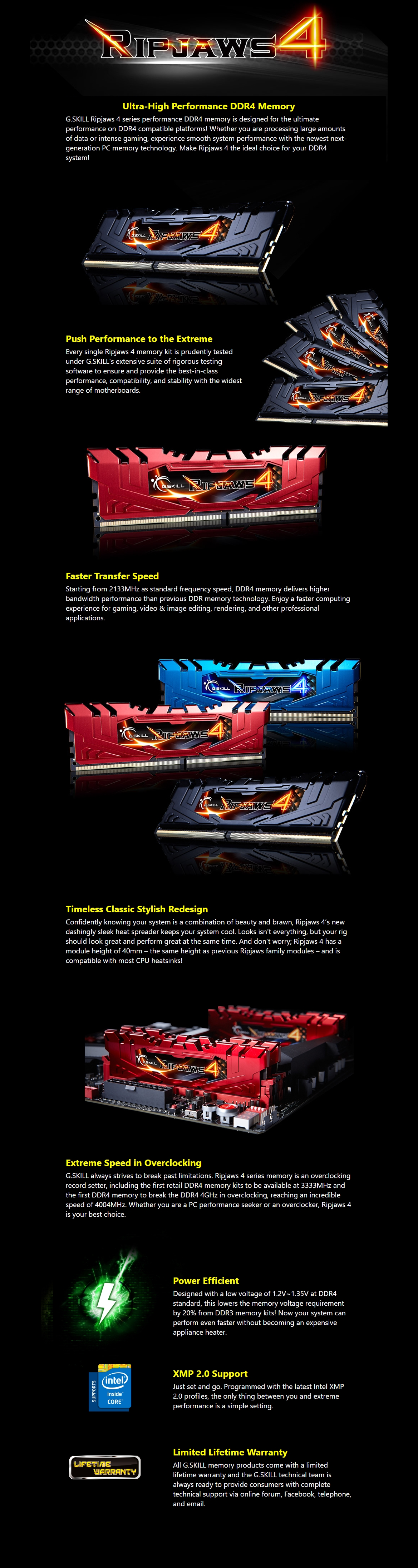 A large marketing image providing additional information about the product G.Skill 8GB Kit (2x4GB) DDR4 Ripjaws 4 Red C15 2400MHz - Additional alt info not provided