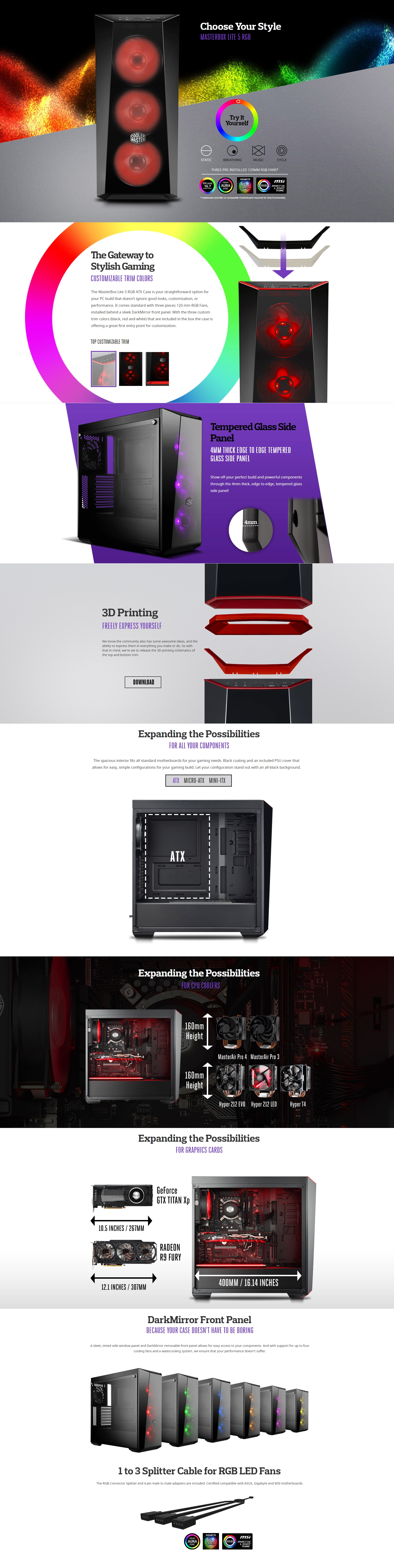 A large marketing image providing additional information about the product Cooler Master MasterBox Lite 5 RGB Mid Tower Case w/Side Panel Window - Additional alt info not provided