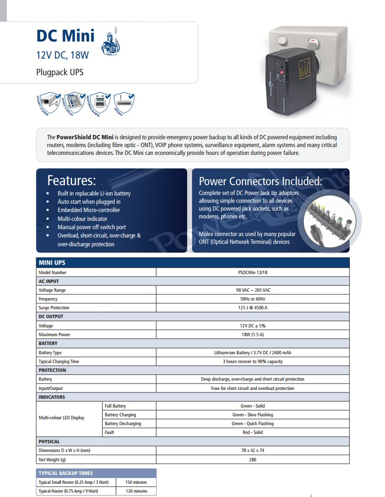 A large marketing image providing additional information about the product Power Shield DC Mini 12V/18W UPS - Additional alt info not provided