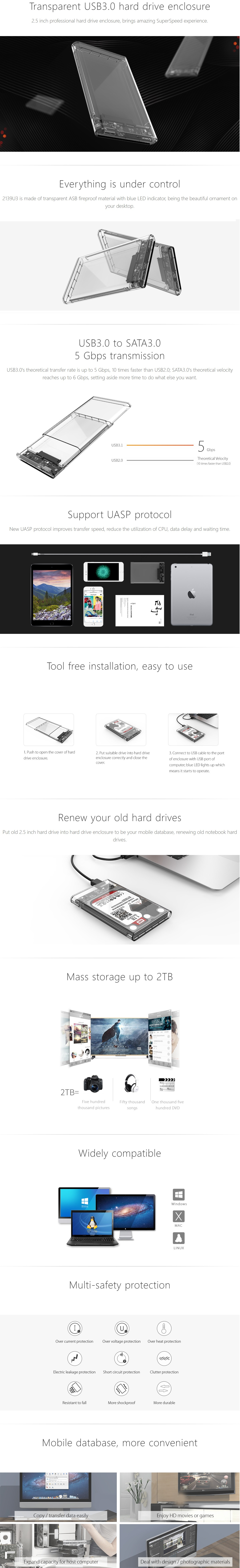 """A large marketing image providing additional information about the product ORICO USB3.0 2.5"""" External HDD Enclosure Clear - Additional alt info not provided"""