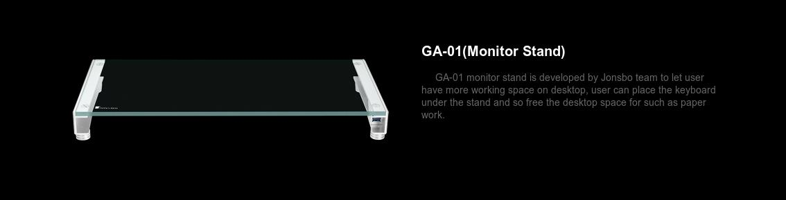 A large marketing image providing additional information about the product Jonsbo GA-01 Tempered Glass Monitor Stand with USB Charging - Additional alt info not provided