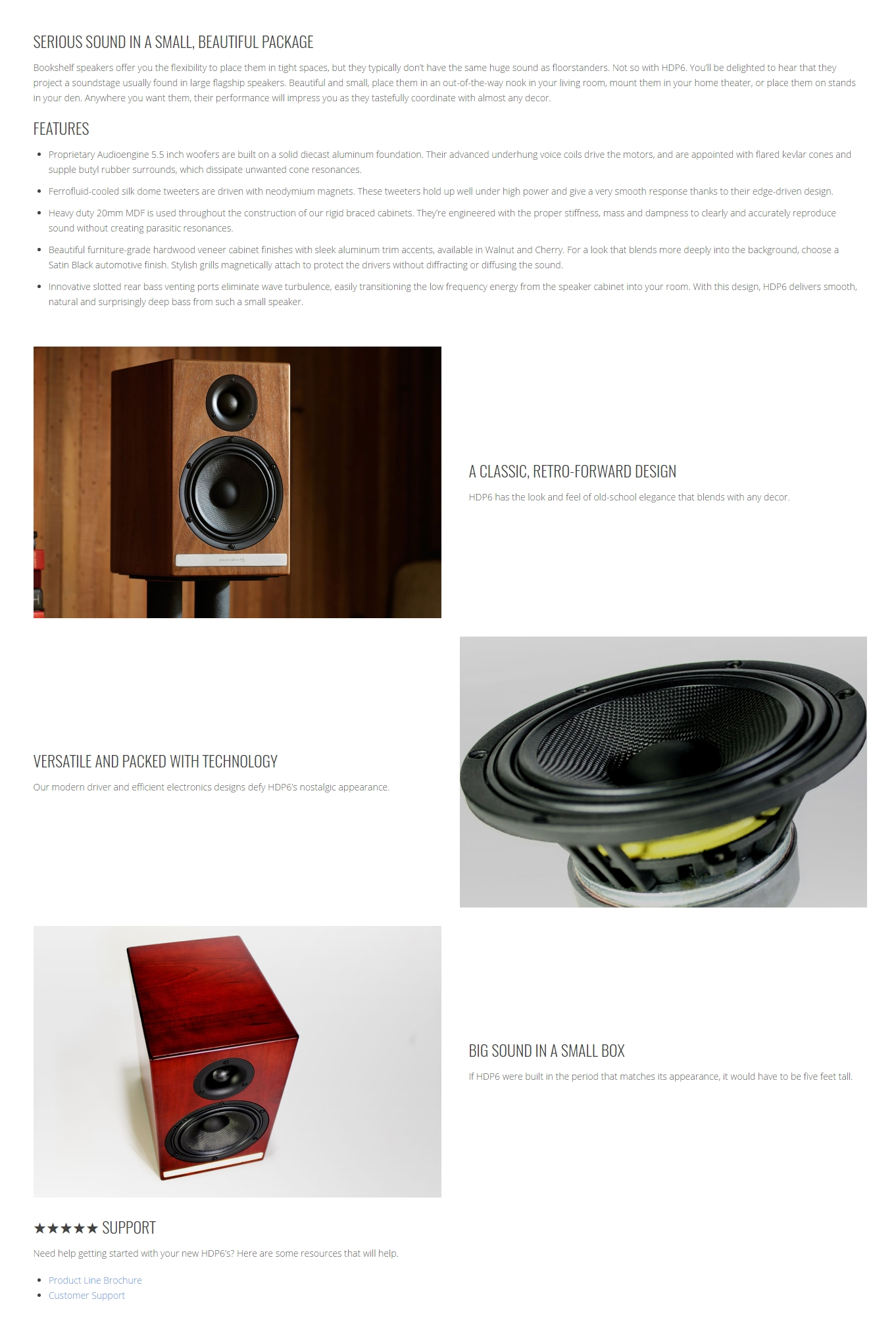 A large marketing image providing additional information about the product Audioengine HDP6 Passive Bookshelf Speakers - Satin Black  - Additional alt info not provided