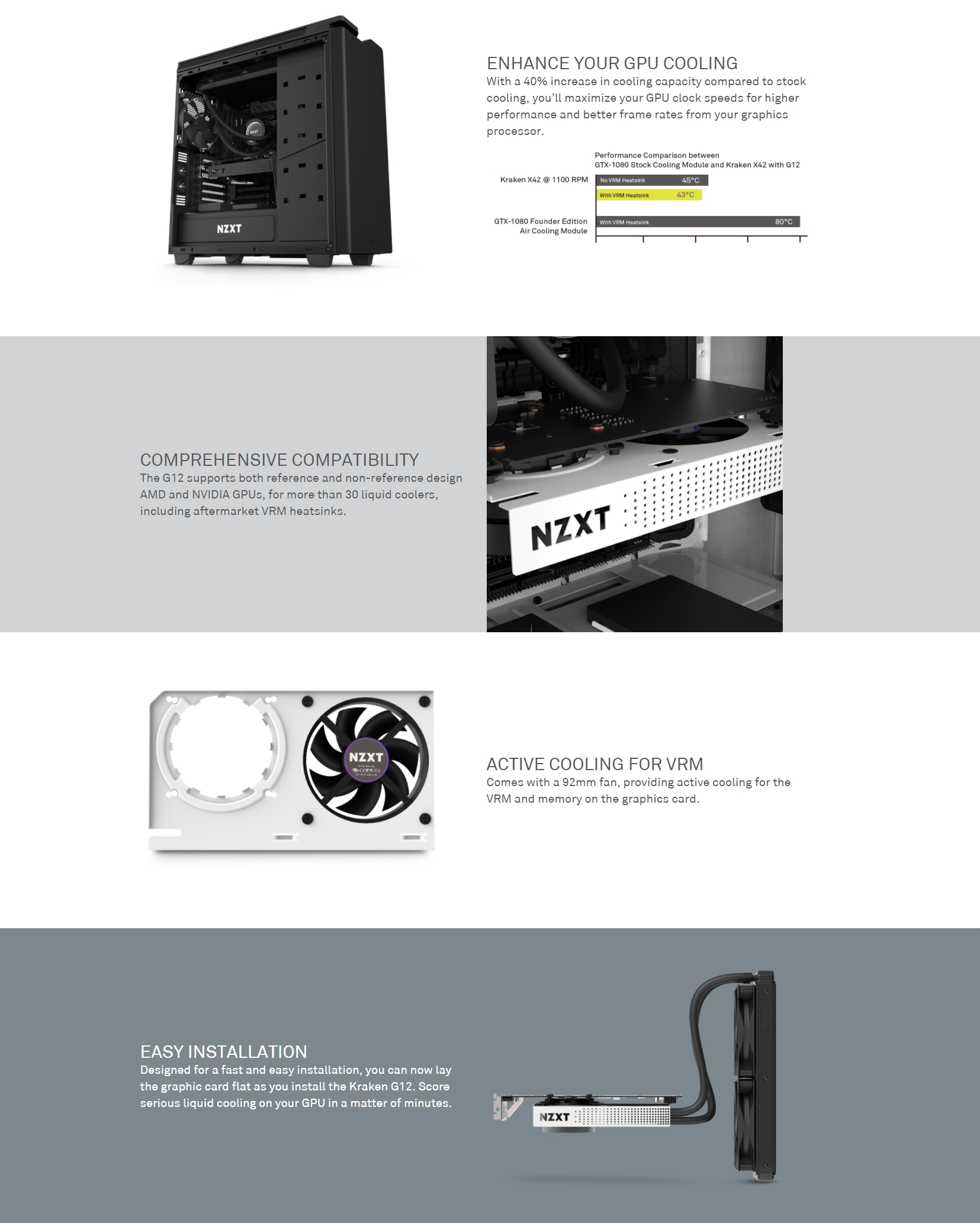 A large marketing image providing additional information about the product NZXT Kraken G12 GPU Adapter - White  - Additional alt info not provided