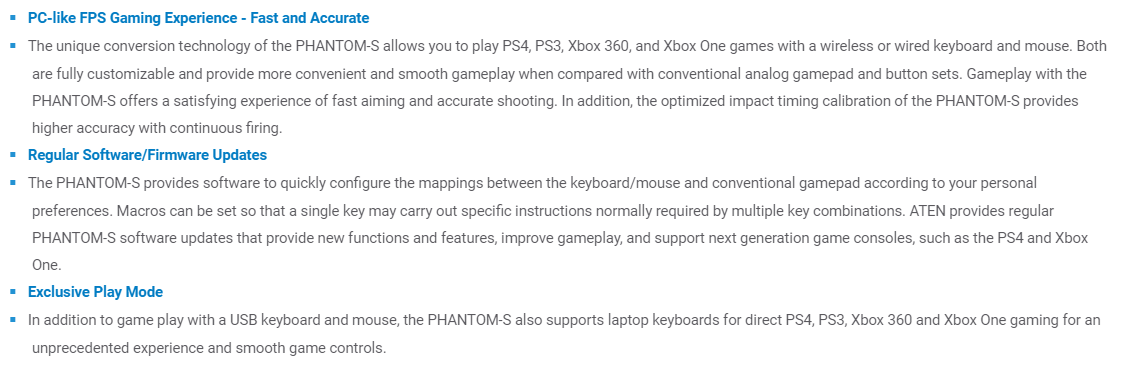 A large marketing image providing additional information about the product ATEN Phantom-S Gamepad Emulator for Playstation and Xbox - Additional alt info not provided