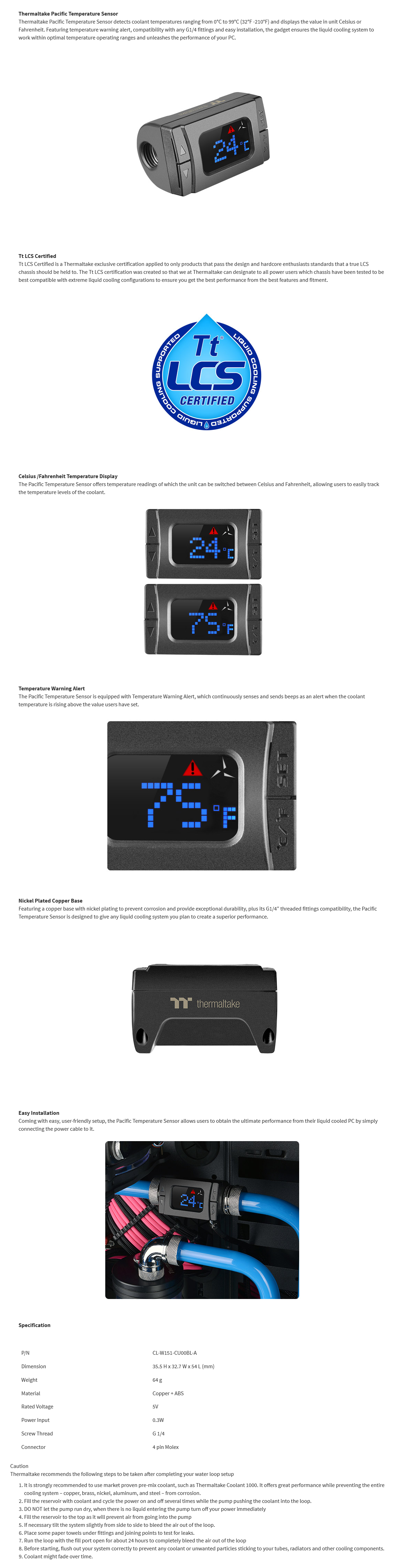 "A large marketing image providing additional information about the product Thermaltake Pacific G1/4"" Inline Digital Temperature Sensor - Additional alt info not provided"