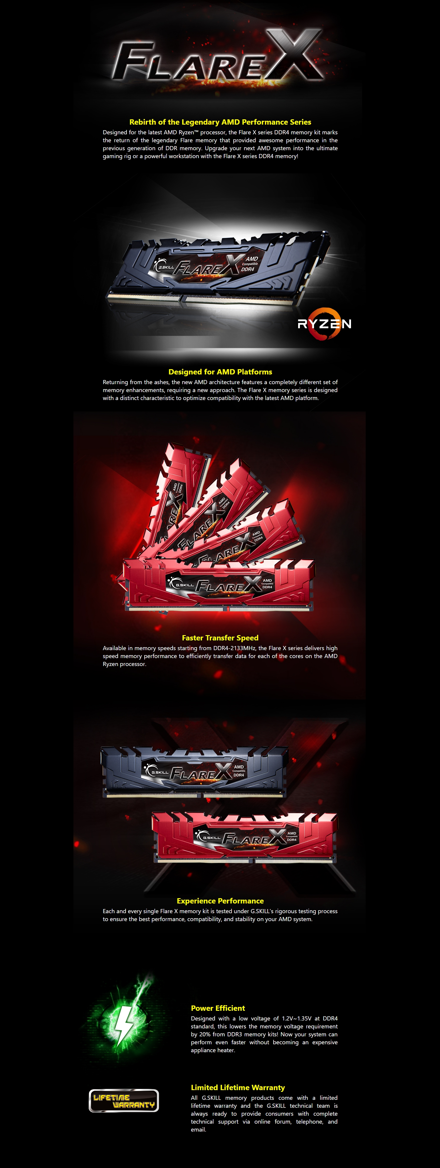 A large marketing image providing additional information about the product G.Skill 16GB Kit (2x8GB) DDR4 Flare X C14 3200MHz (For AMD) - Additional alt info not provided