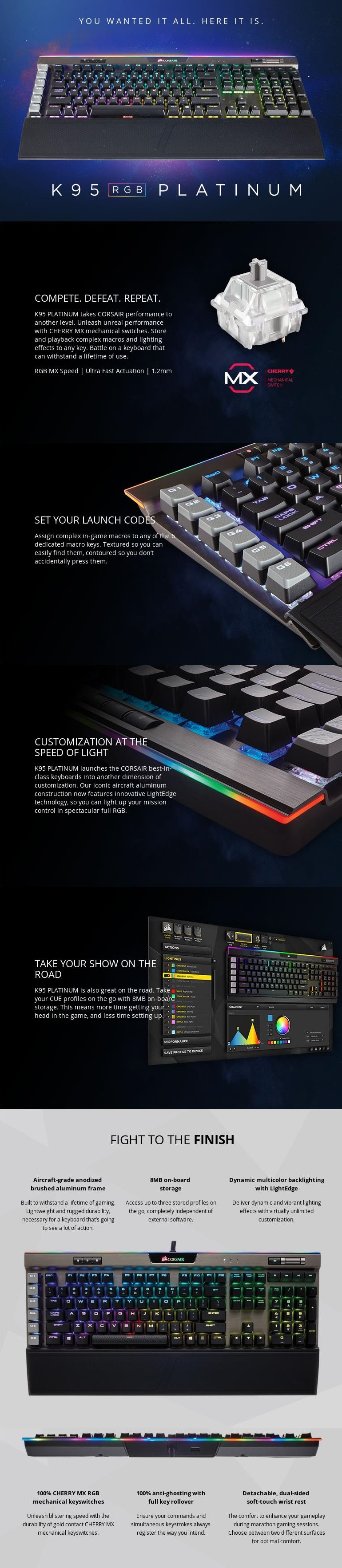 A large marketing image providing additional information about the product Corsair Gaming K95 RGB Platinum Gunmetal Mechanical Keyboard (MX Speed Switch) - Additional alt info not provided
