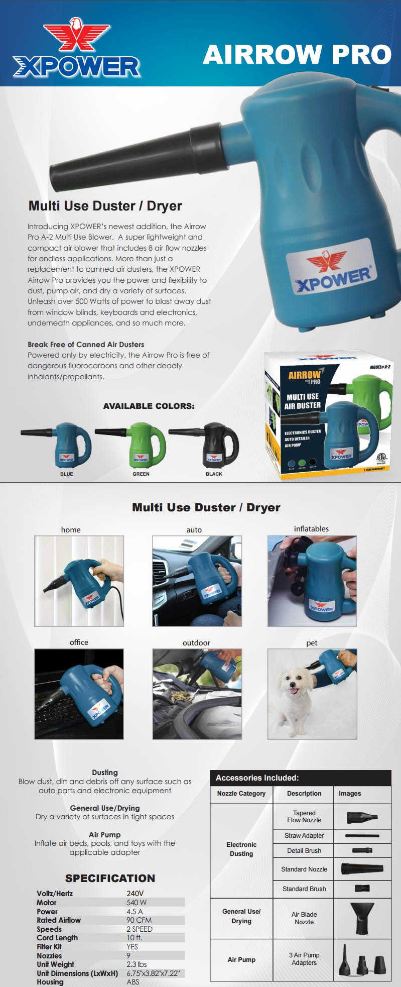 A large marketing image providing additional information about the product XPower Airrow Pro Electric Blower - Black - Additional alt info not provided