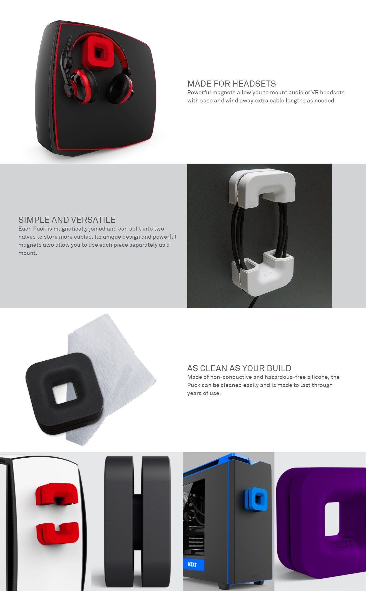 A large marketing image providing additional information about the product NZXT Puck Headset Hanger Blue - Additional alt info not provided