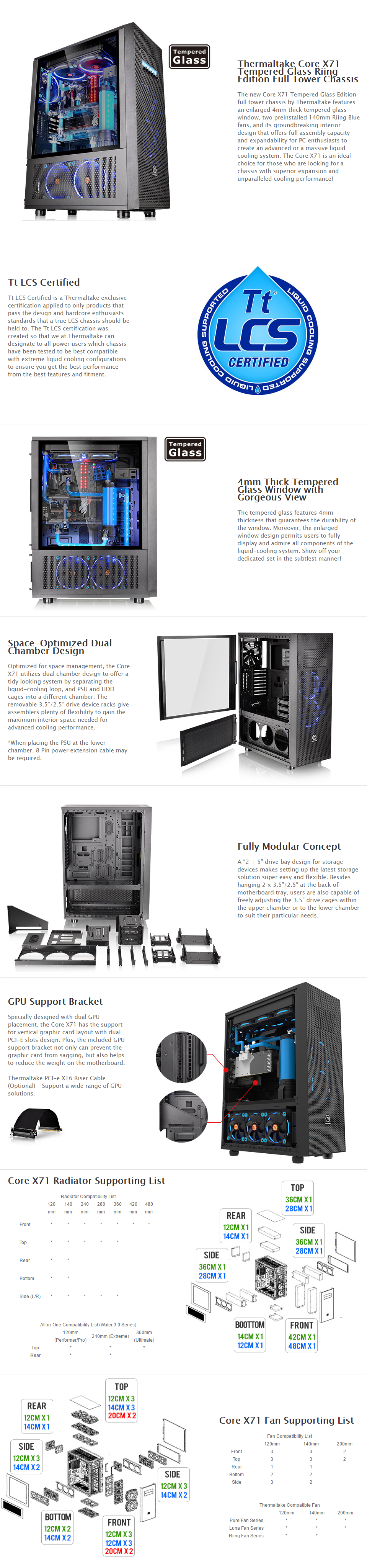 A large marketing image providing additional information about the product Thermaltake Core X71 Tempered Glass Riing Edition Full Tower Case - Additional alt info not provided