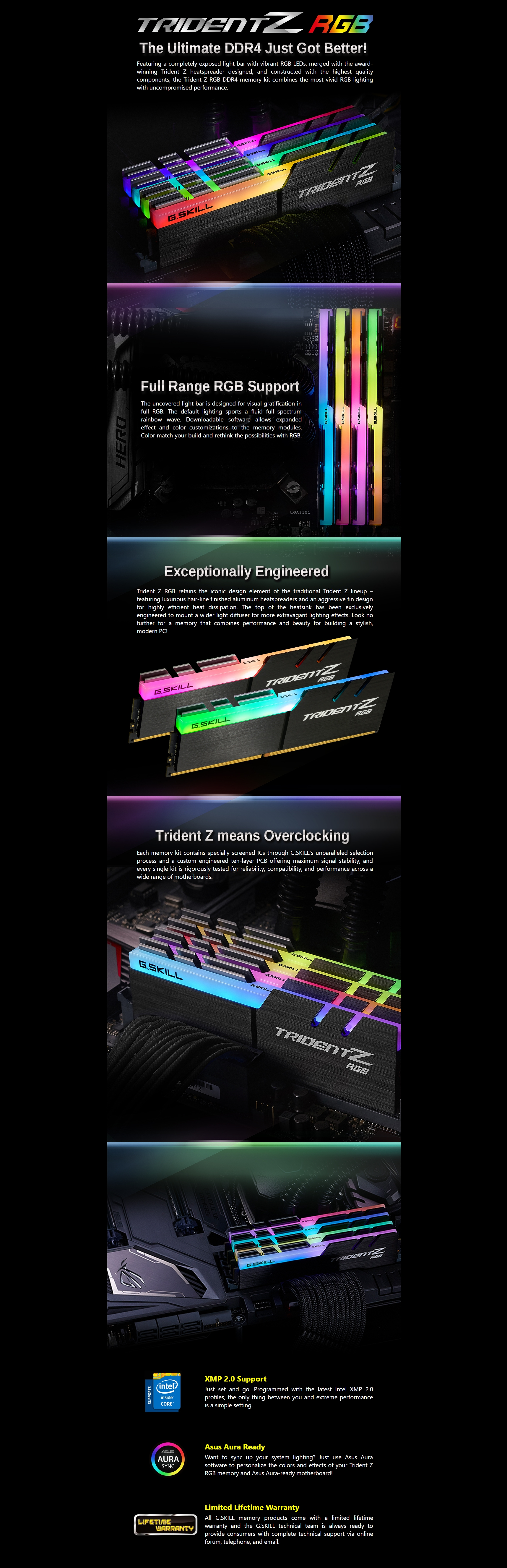 A large marketing image providing additional information about the product G.Skill 32GB Kit (4x8GB) DDR4 Trident Z RGB 3600MHz C17 - Additional alt info not provided