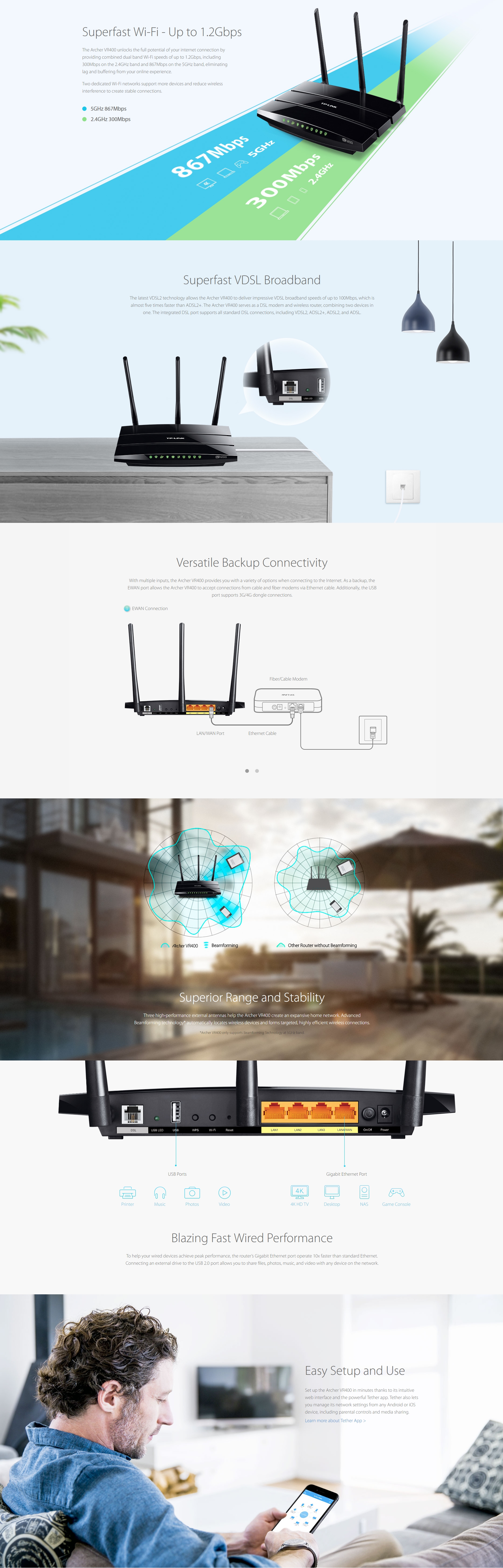 A large marketing image providing additional information about the product TP-LINK Archer VR400 AC1200 Wireless Dual Band VDSL/ADSL Modem Router - Additional alt info not provided