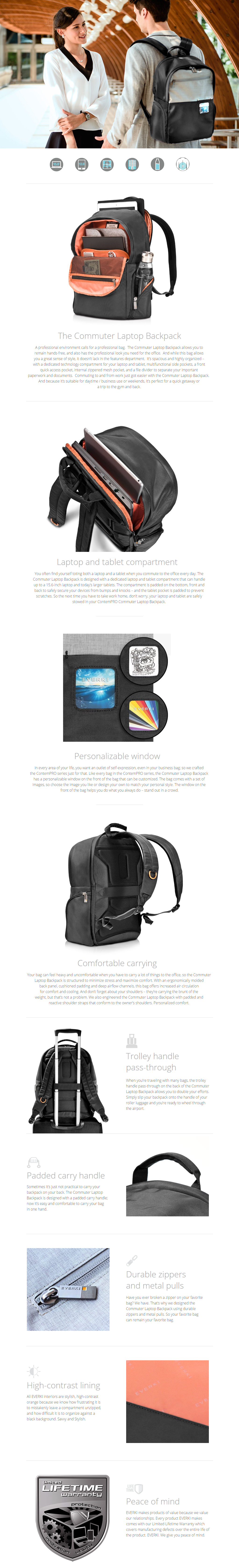 """A large marketing image providing additional information about the product Everki ContemPRO 15.6"""" Laptop Backpack (Black) - Additional alt info not provided"""