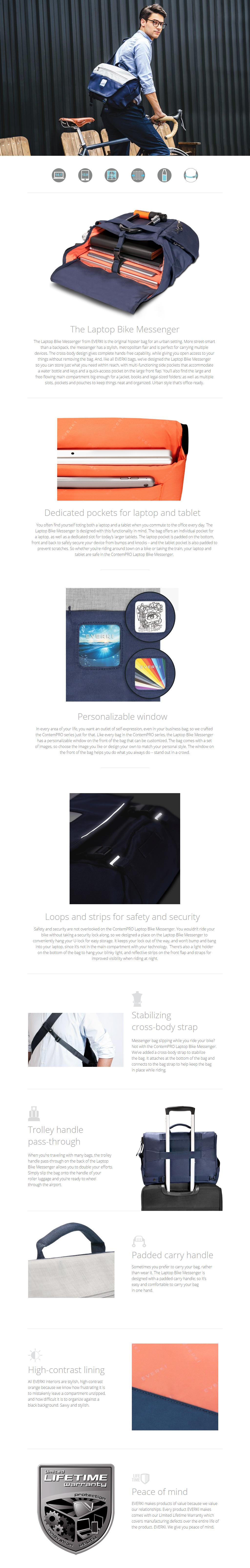 "A large marketing image providing additional information about the product Everki ContemPRO 14"" Laptop Bike Messenger Bag (Blue) - Additional alt info not provided"
