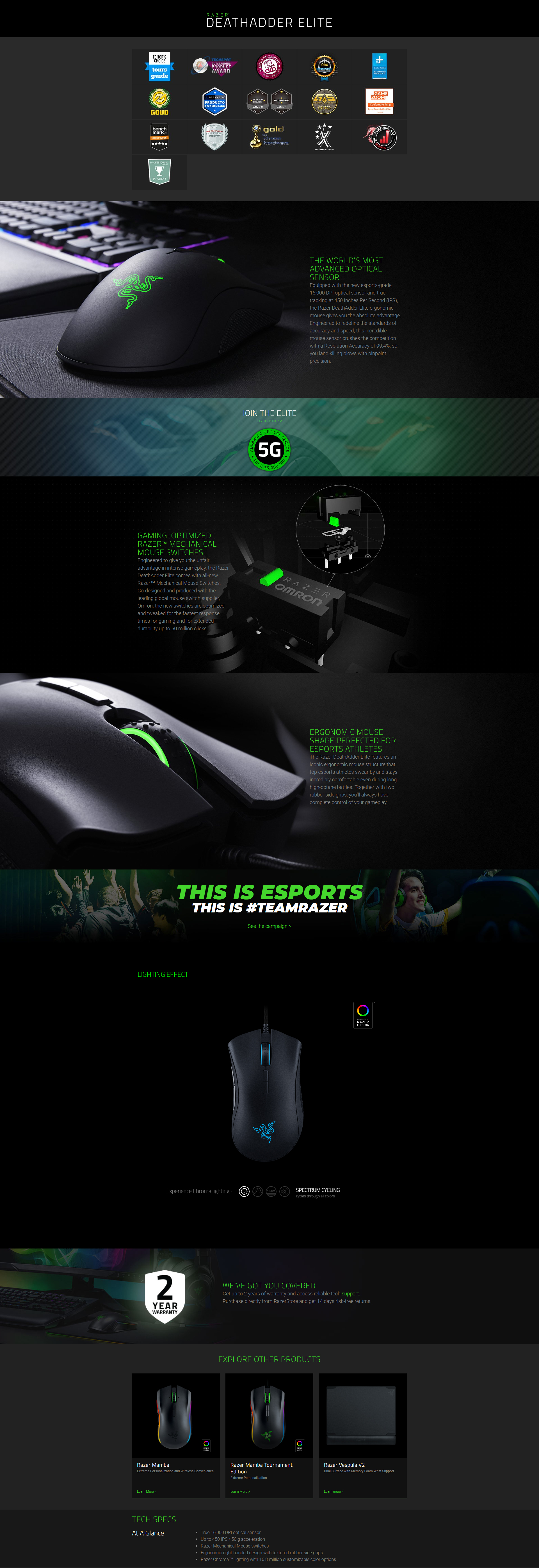 A large marketing image providing additional information about the product Razer DeathAdder Elite Chroma RGB Optical Gaming Mouse - Additional alt info not provided
