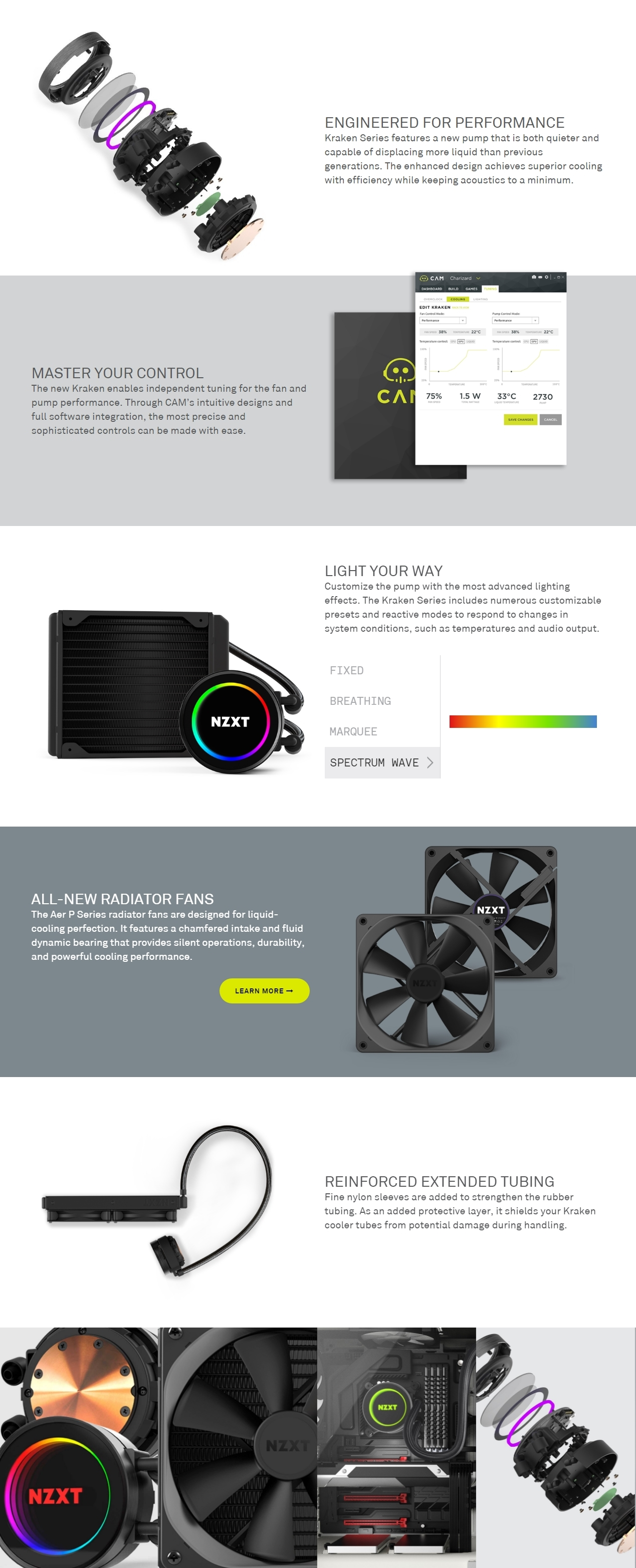 A large marketing image providing additional information about the product NZXT Kraken X42 140mm AIO Liquid CPU Cooler - Additional alt info not provided