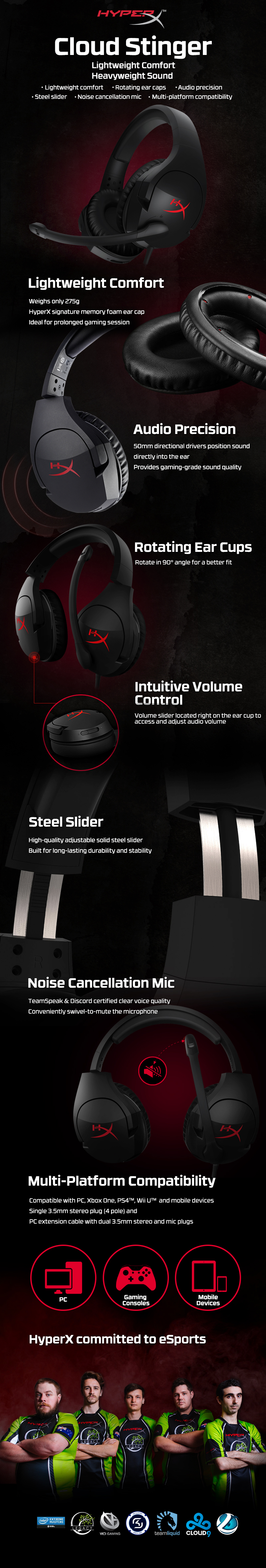 A large marketing image providing additional information about the product Kingston HyperX Cloud Stinger Gaming Headset Black - Additional alt info not provided