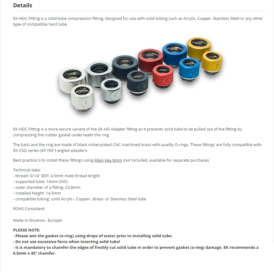 A large marketing image providing additional information about the product EK G1/4 16mm White HDC Fittings - Additional alt info not provided