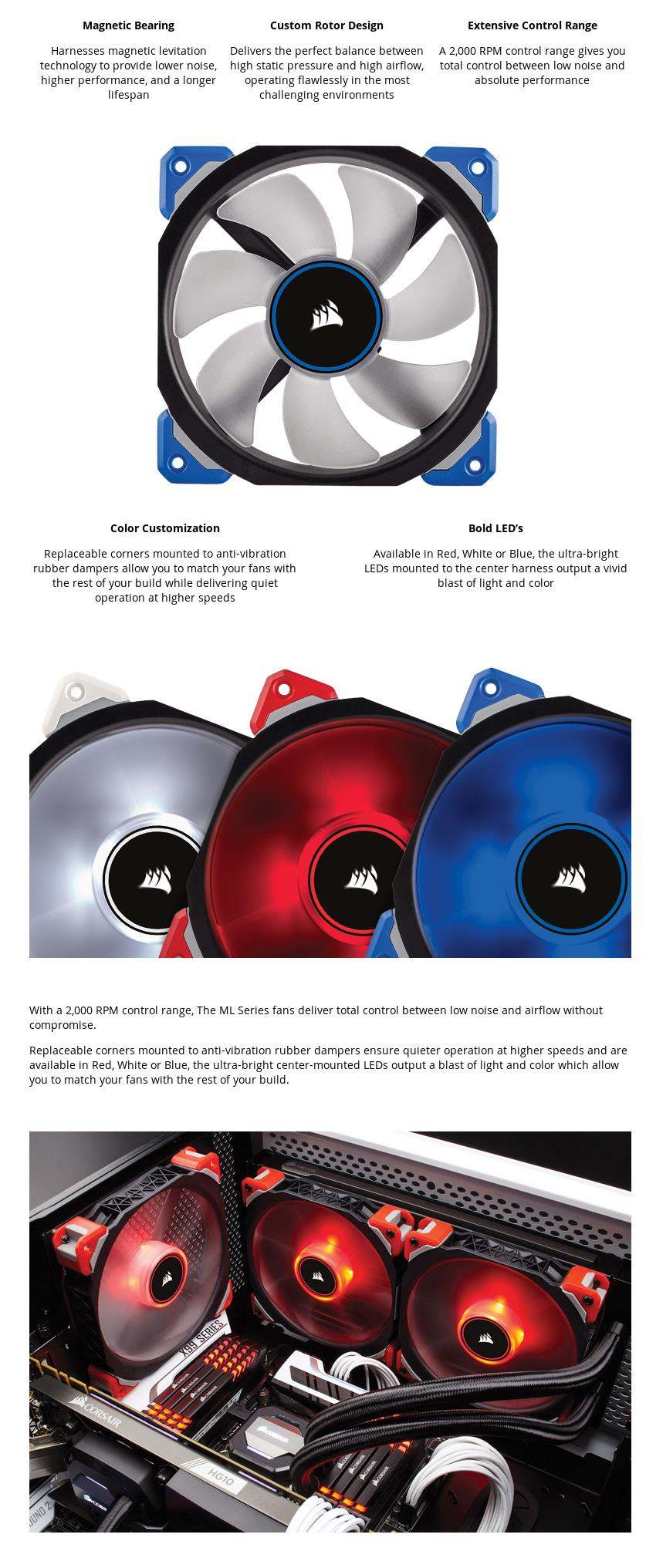 A large marketing image providing additional information about the product Corsair ML120 Pro 120mm Mag-Lev Blue LED Cooling Fan - Additional alt info not provided