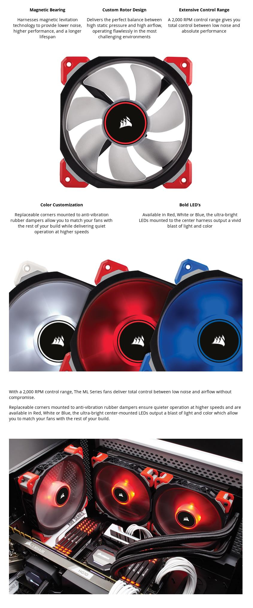A large marketing image providing additional information about the product Corsair ML120 Pro 120mm Mag-Lev Red LED Cooling Fan - Additional alt info not provided