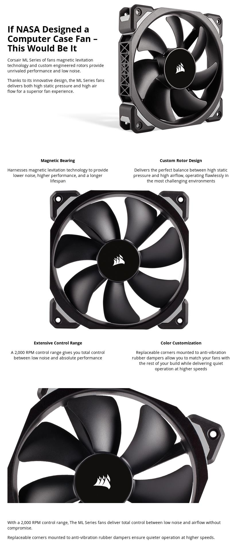 A large marketing image providing additional information about the product Corsair ML120 Pro 120mm Mag-Lev Cooling Fan - Additional alt info not provided
