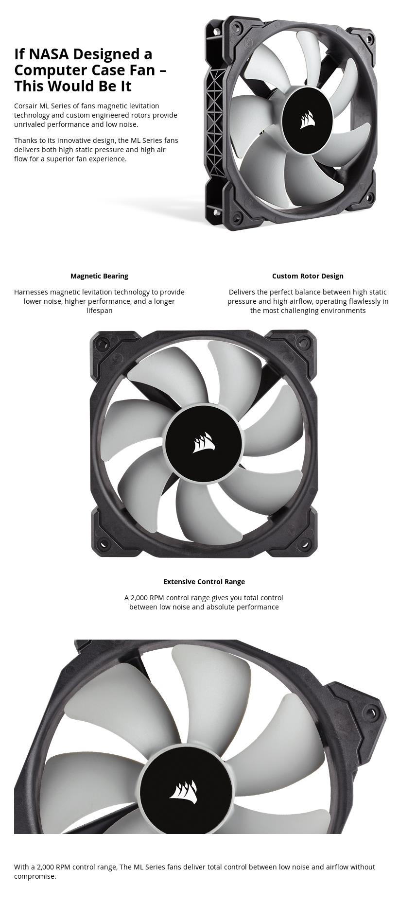 A large marketing image providing additional information about the product Corsair ML120 120mm Mag-Lev Cooling Fan Twin Pack - Additional alt info not provided