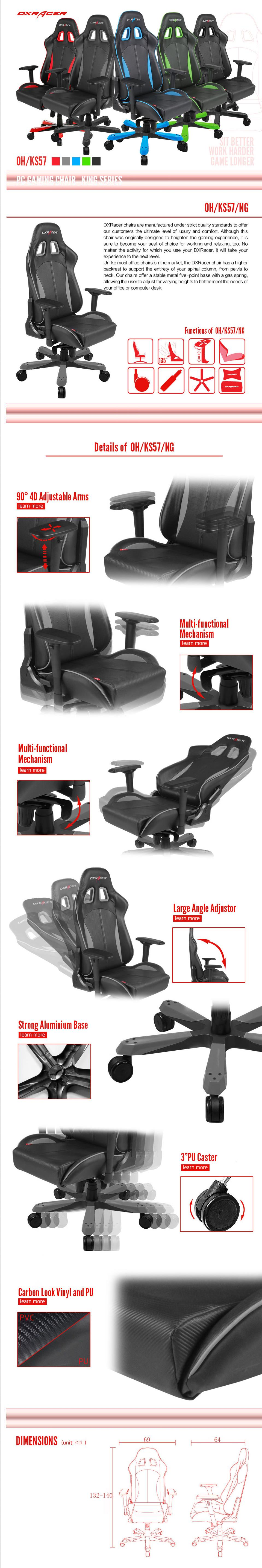 A large marketing image providing additional information about the product DXRacer KS57 Series PC Gaming Chair - Black & Carbon Grey w/ Lumbar Support - Additional alt info not provided