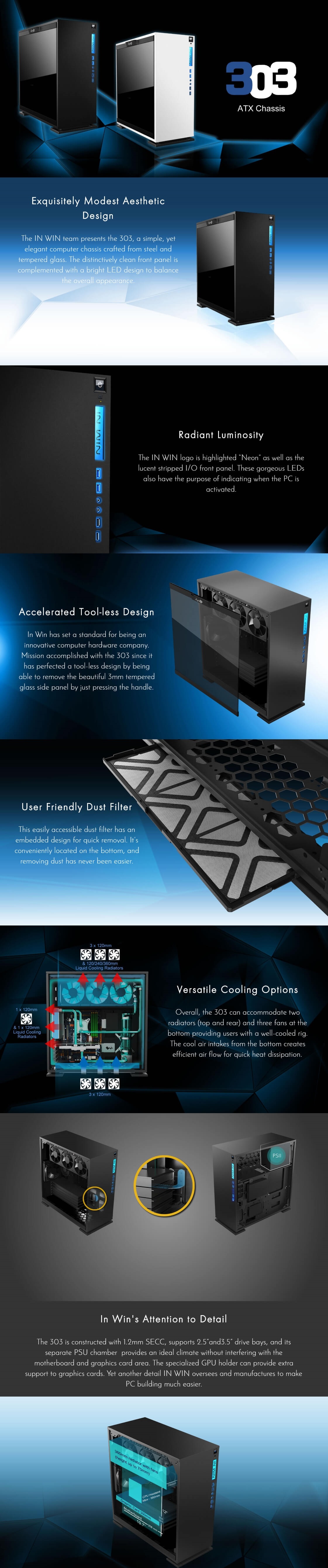 A large marketing image providing additional information about the product InWin 303 Black Mid Tower Case w/Tempered Glass Side Panel - Additional alt info not provided