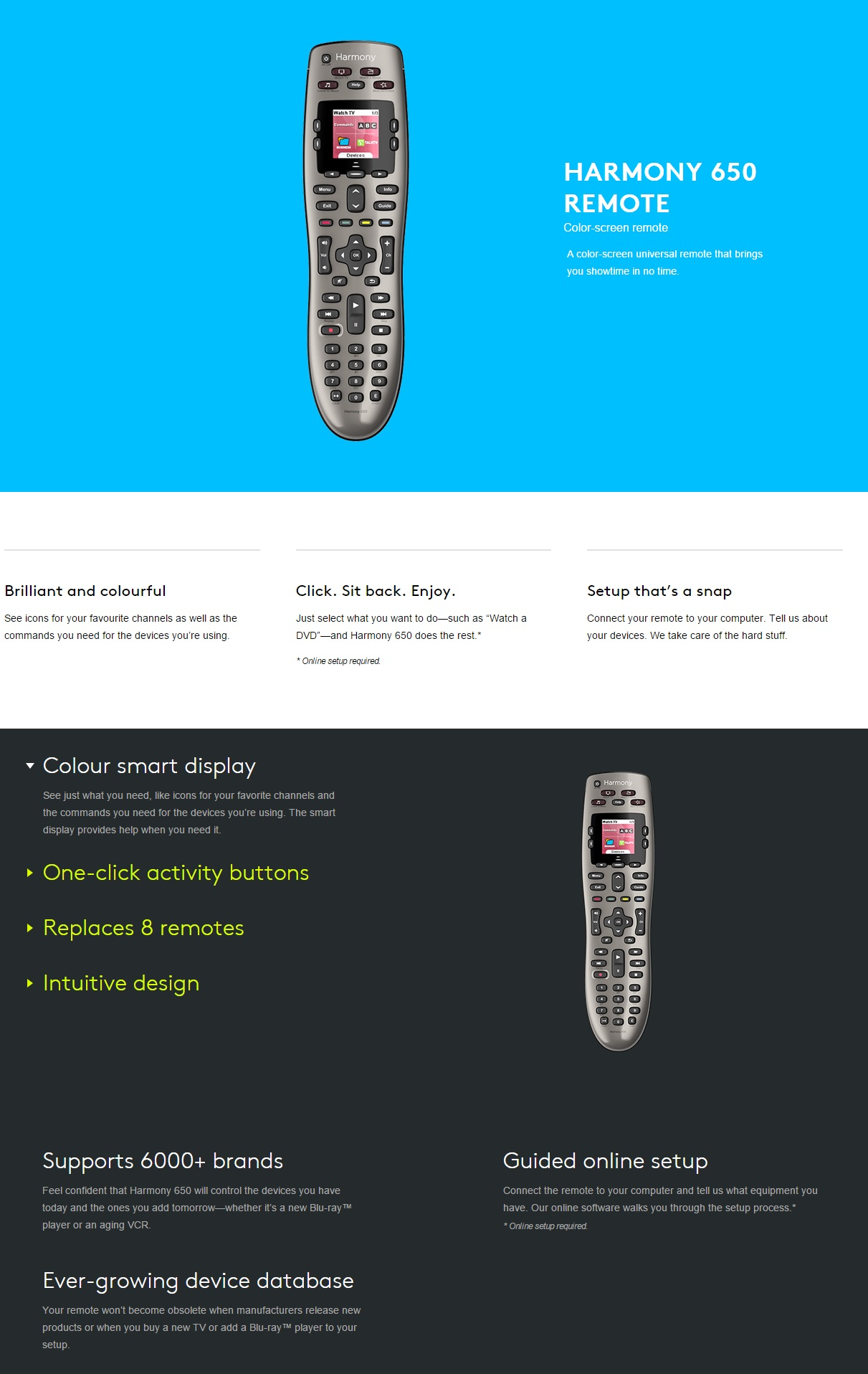 A large marketing image providing additional information about the product Logitech Harmony 650 Universal Remote - Additional alt info not provided