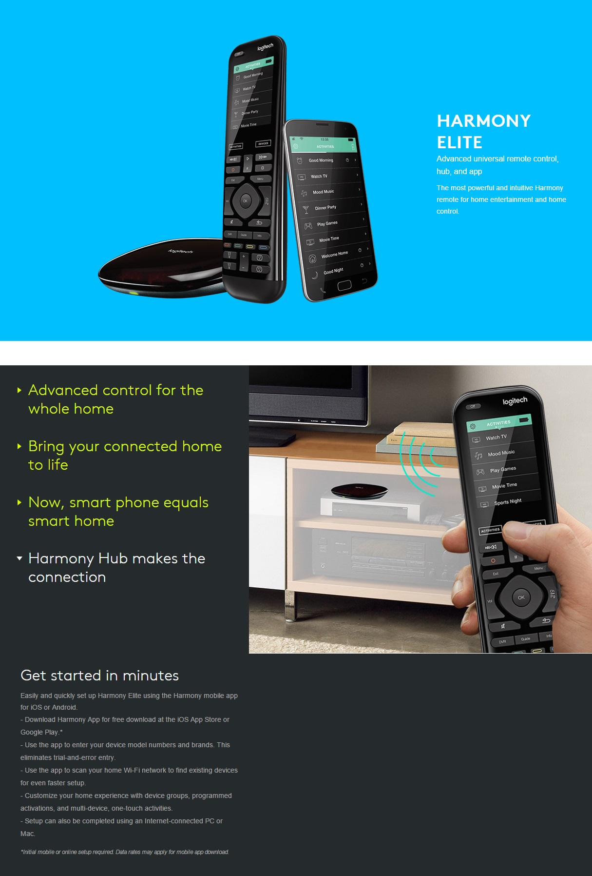 A large marketing image providing additional information about the product Logitech Harmony Elite Smart Home Remote - Additional alt info not provided