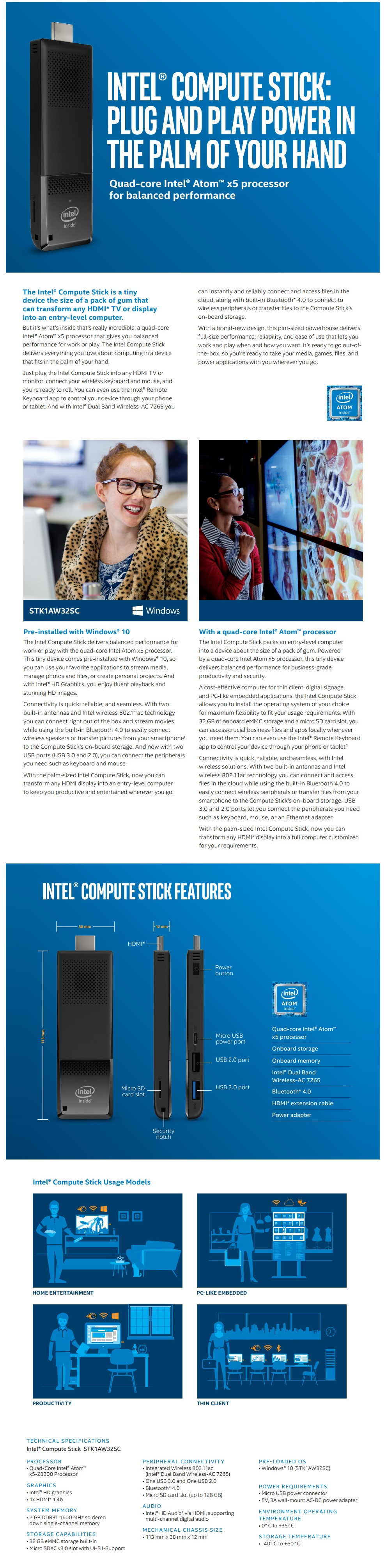 A large marketing image providing additional information about the product Intel Compute Stick STK1AW32SC Windows 10 Portable PC - Additional alt info not provided