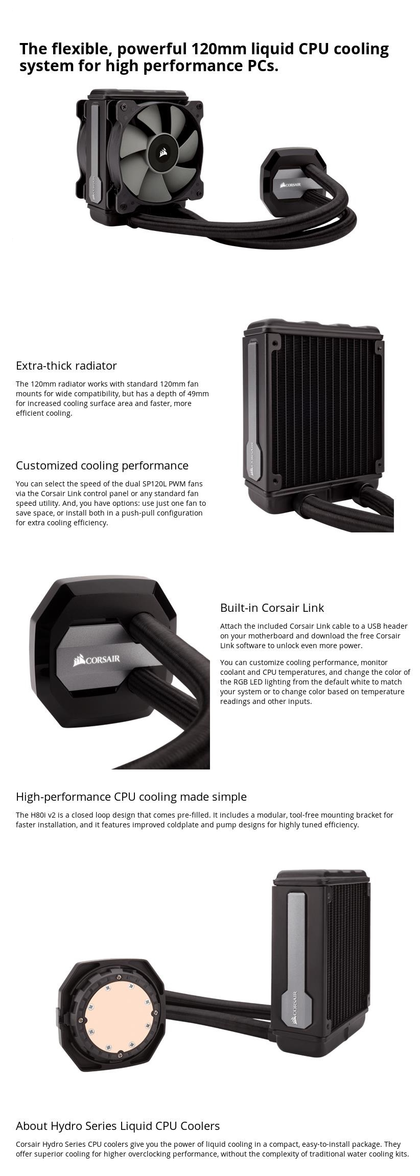 A large marketing image providing additional information about the product Corsair Hydro Series H80i V2 AIO Liquid CPU Cooler - Additional alt info not provided