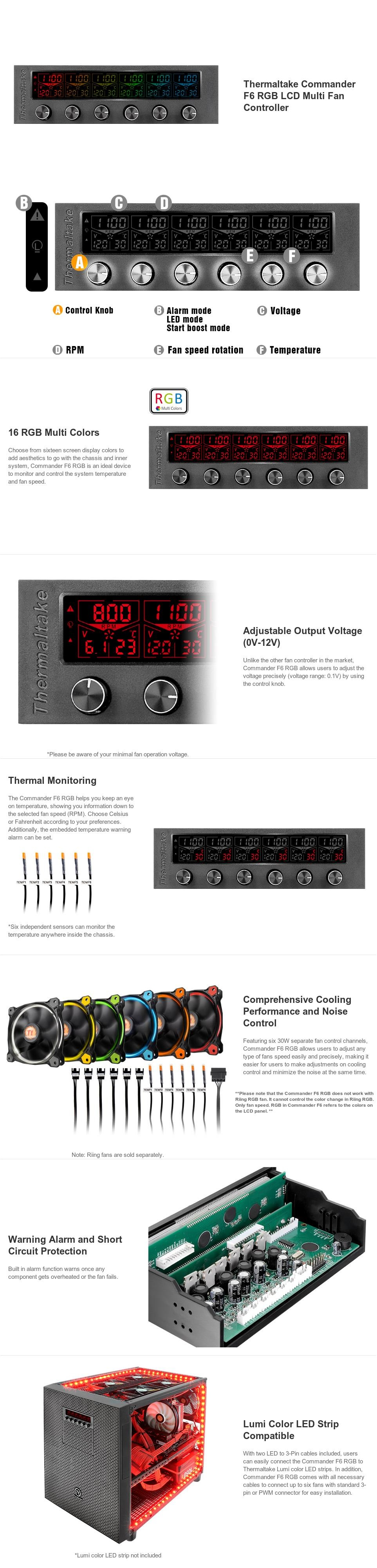 """A large marketing image providing additional information about the product Thermaltake Commander F6 RGB LCD 5.25"""" Fan Controller  - Additional alt info not provided"""