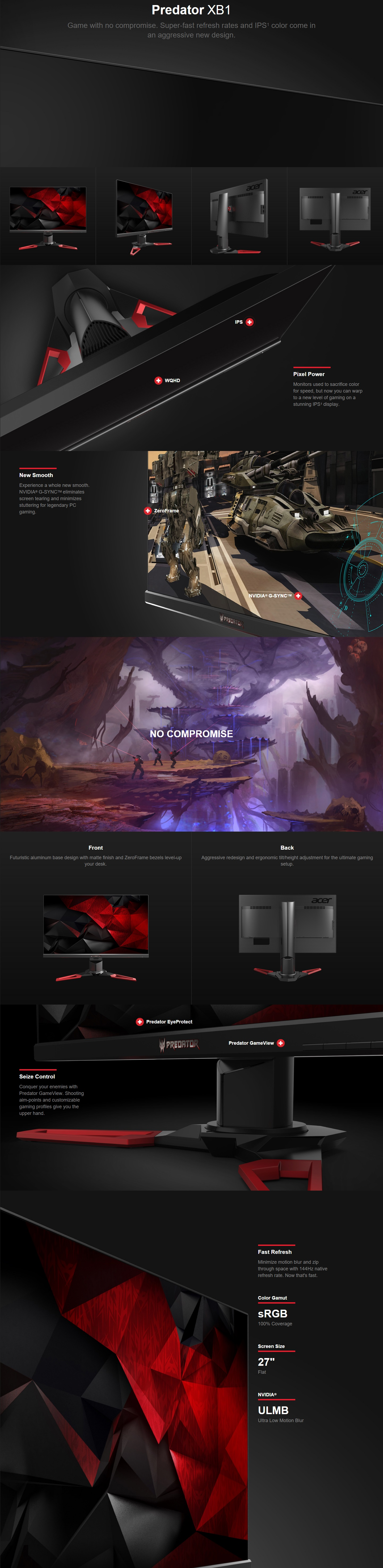 "A large marketing image providing additional information about the product Acer Predator XB271HU 27"" WQHD G-SYNC 2 144Hz (165Hz OC) 4MS IPS LED Gaming Monitor - Additional alt info not provided"