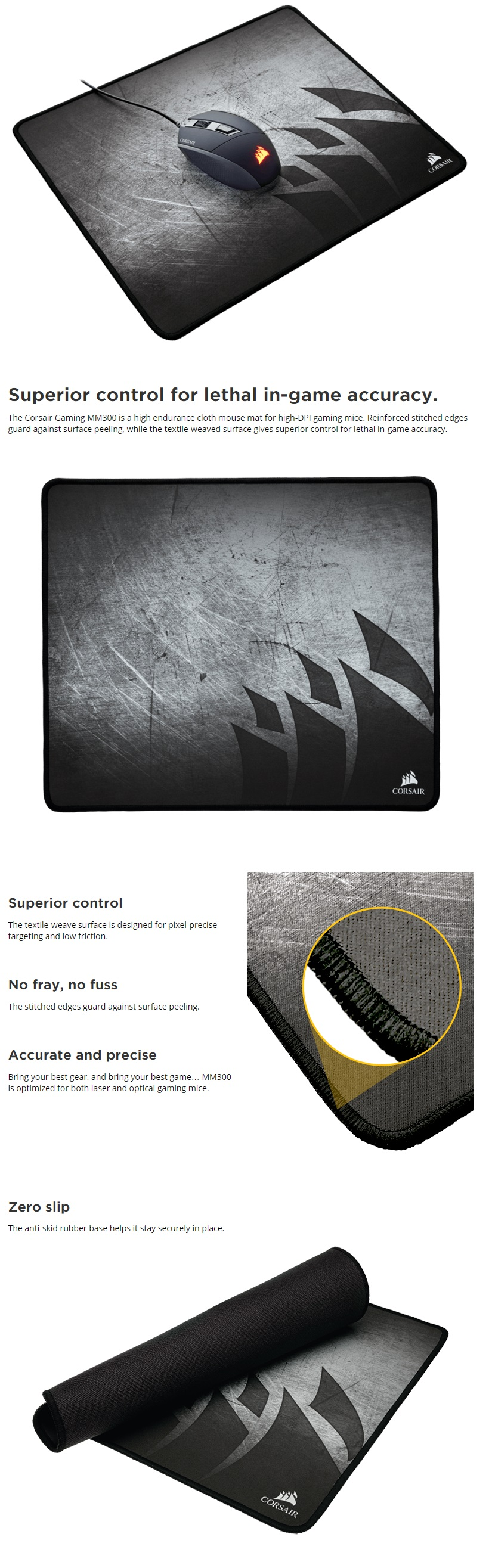 A large marketing image providing additional information about the product Corsair Gaming MM300 Cloth Gaming Mousemat - Additional alt info not provided