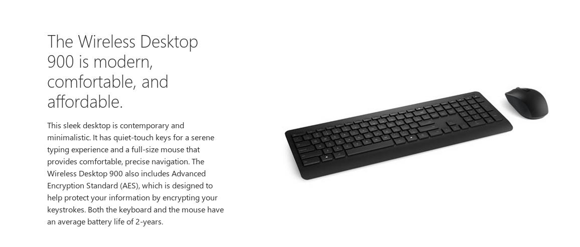 A large marketing image providing additional information about the product Microsoft Wireless Desktop 900 - Additional alt info not provided