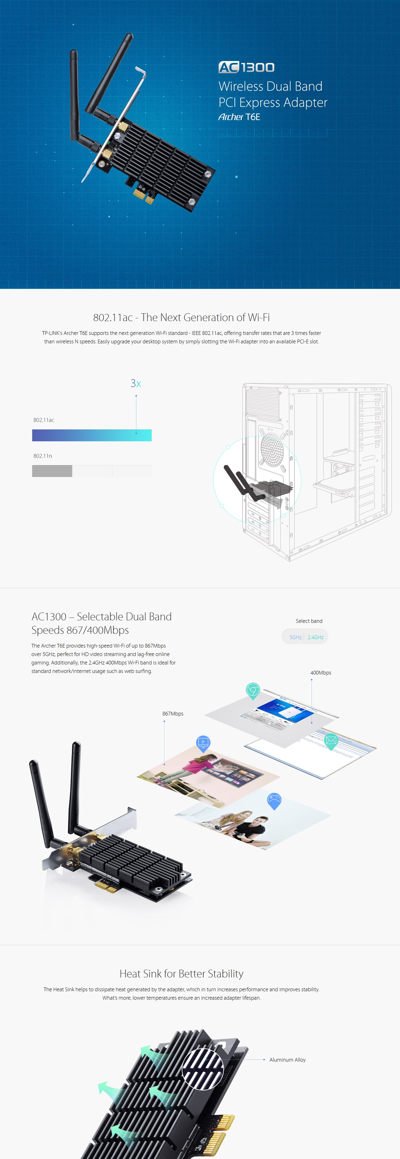 A large marketing image providing additional information about the product TP-LINK Archer T6E Dual-Band Wireless-AC1300 PCIe Adapter - Additional alt info not provided