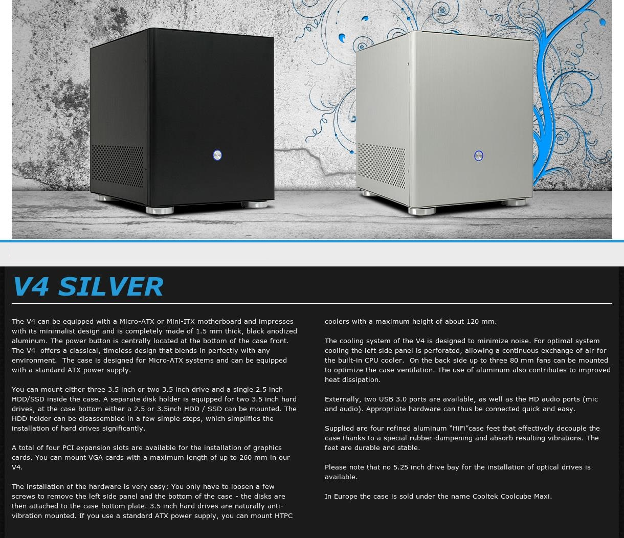A large marketing image providing additional information about the product Jonsbo V4 Silver mATX Case - Additional alt info not provided