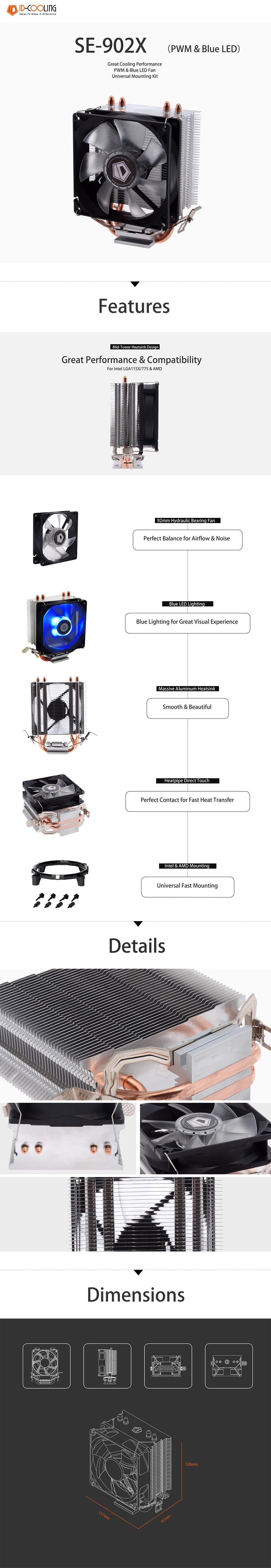 A large marketing image providing additional information about the product ID-COOLING Sweden Series SE-902X CPU Cooler - Additional alt info not provided