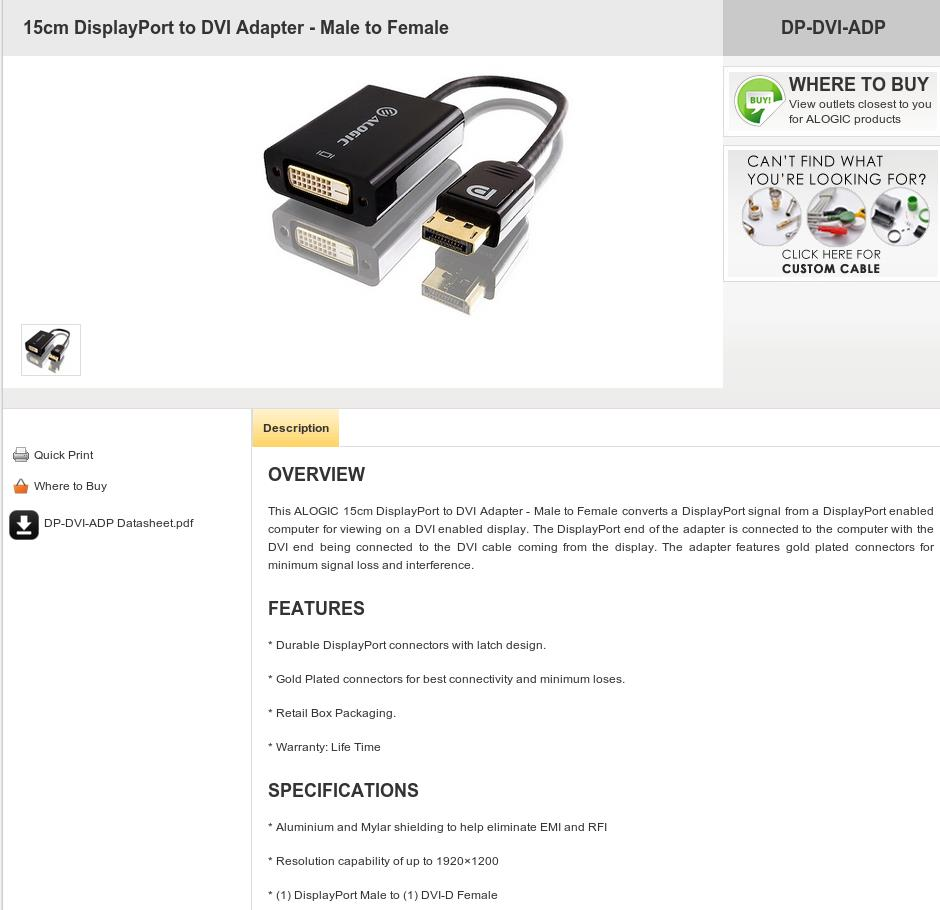 A large marketing image providing additional information about the product ALOGIC Elements 20cm DisplayPort to DVI Adapter Male to Female - Additional alt info not provided