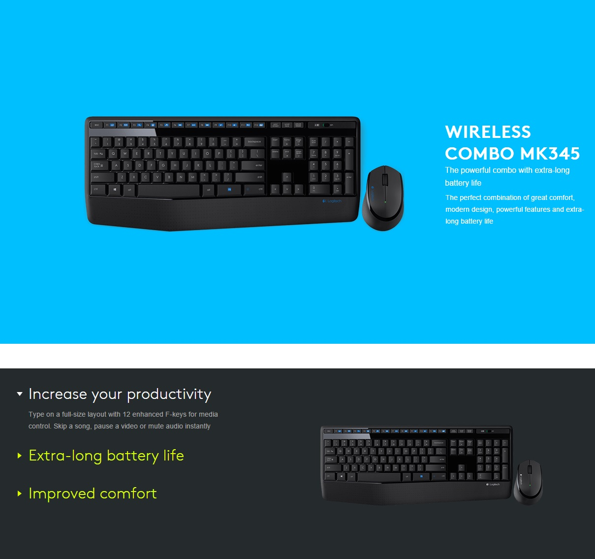 A large marketing image providing additional information about the product Logitech MK345 Cordless Desktop - Additional alt info not provided