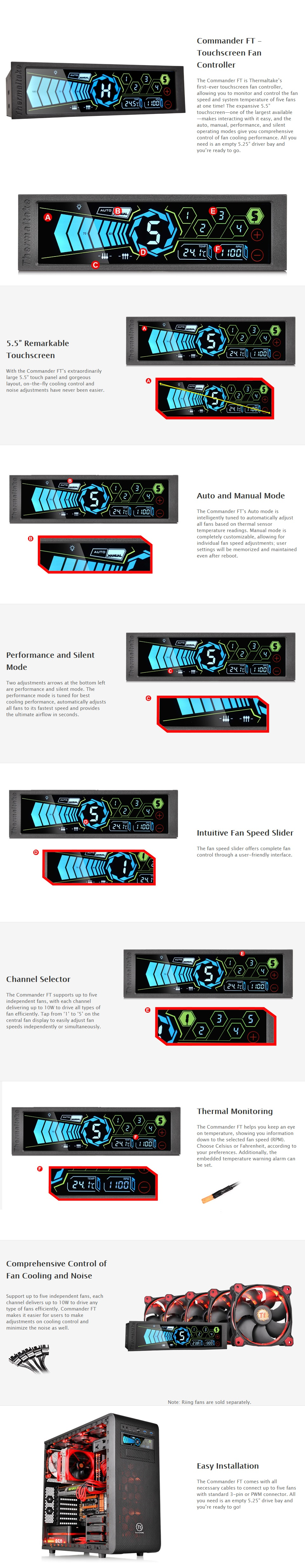 """A large marketing image providing additional information about the product Thermaltake Commander FT Touch Screen LCD 5.25"""" Fan Controller - Additional alt info not provided"""