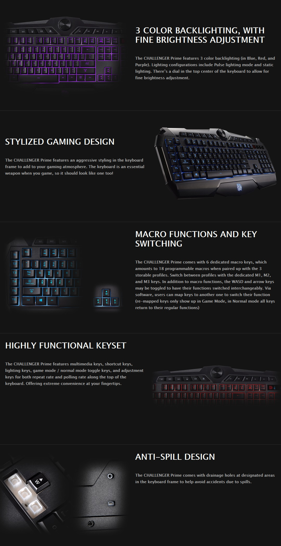 A large marketing image providing additional information about the product Tt eSports Challenger Prime Gaming Keyboard - Additional alt info not provided