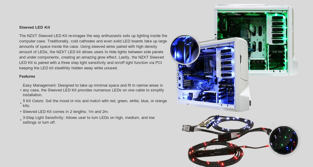 A large marketing image providing additional information about the product NZXT Sleeved Red LED Cable 100CM - Additional alt info not provided