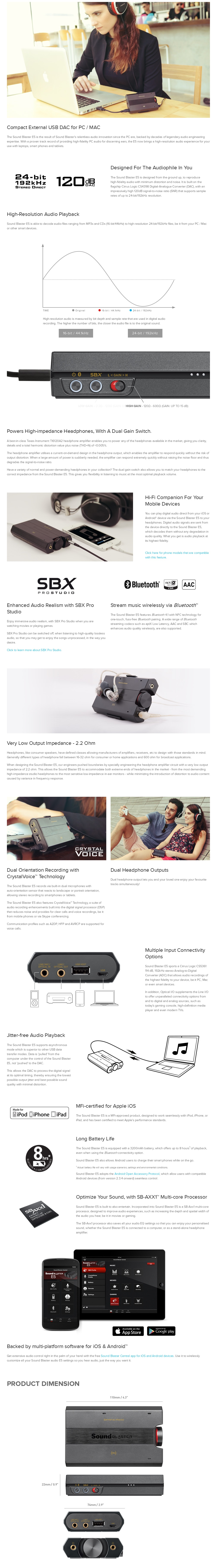A large marketing image providing additional information about the product Creative Sound Blaster E5 High Resolution USB DAC and Portable Headphone Amp - Additional alt info not provided