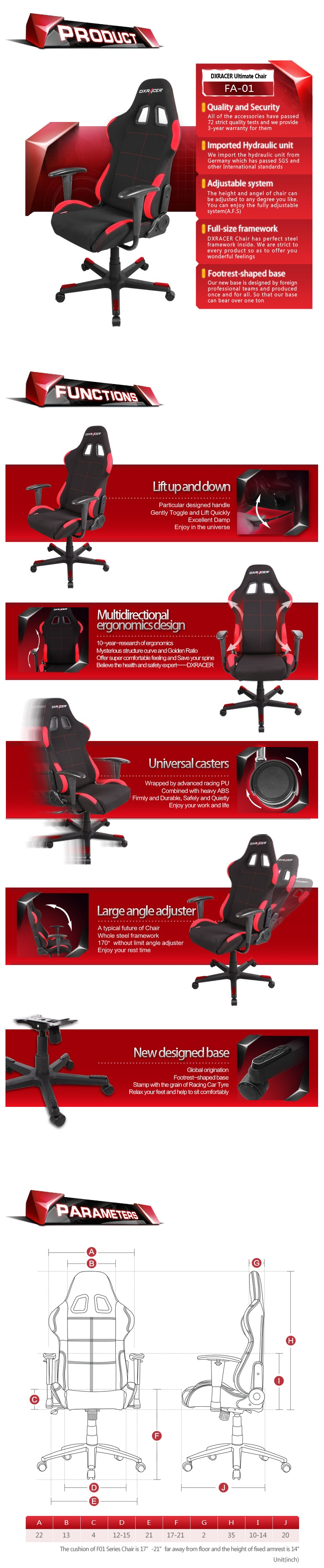 A large marketing image providing additional information about the product DXRacer F Series PC Gaming Chair - Black & Red - Additional alt info not provided