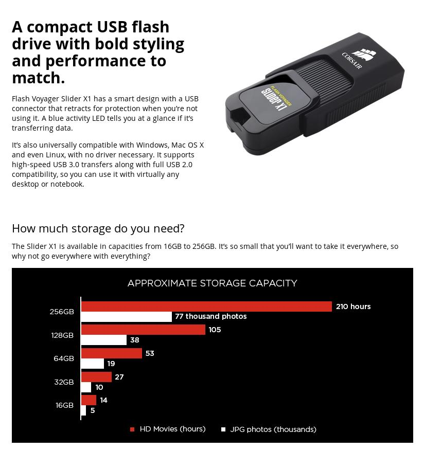 A large marketing image providing additional information about the product Corsair Flash Voyager Slider X1 32GB USB3.0 Flash Drive - Additional alt info not provided