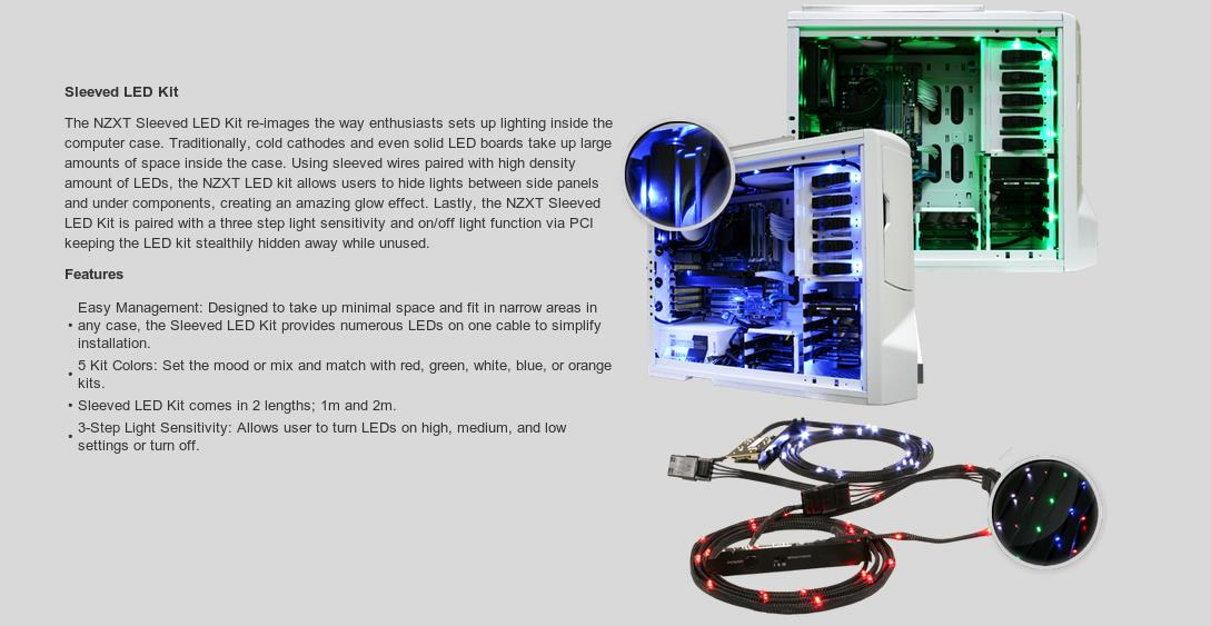 A large marketing image providing additional information about the product NZXT Sleeved Green LED Cable 100CM - Additional alt info not provided